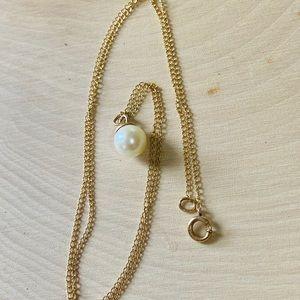 14k Gold Vintage Genuine Pearl Choker Necklace